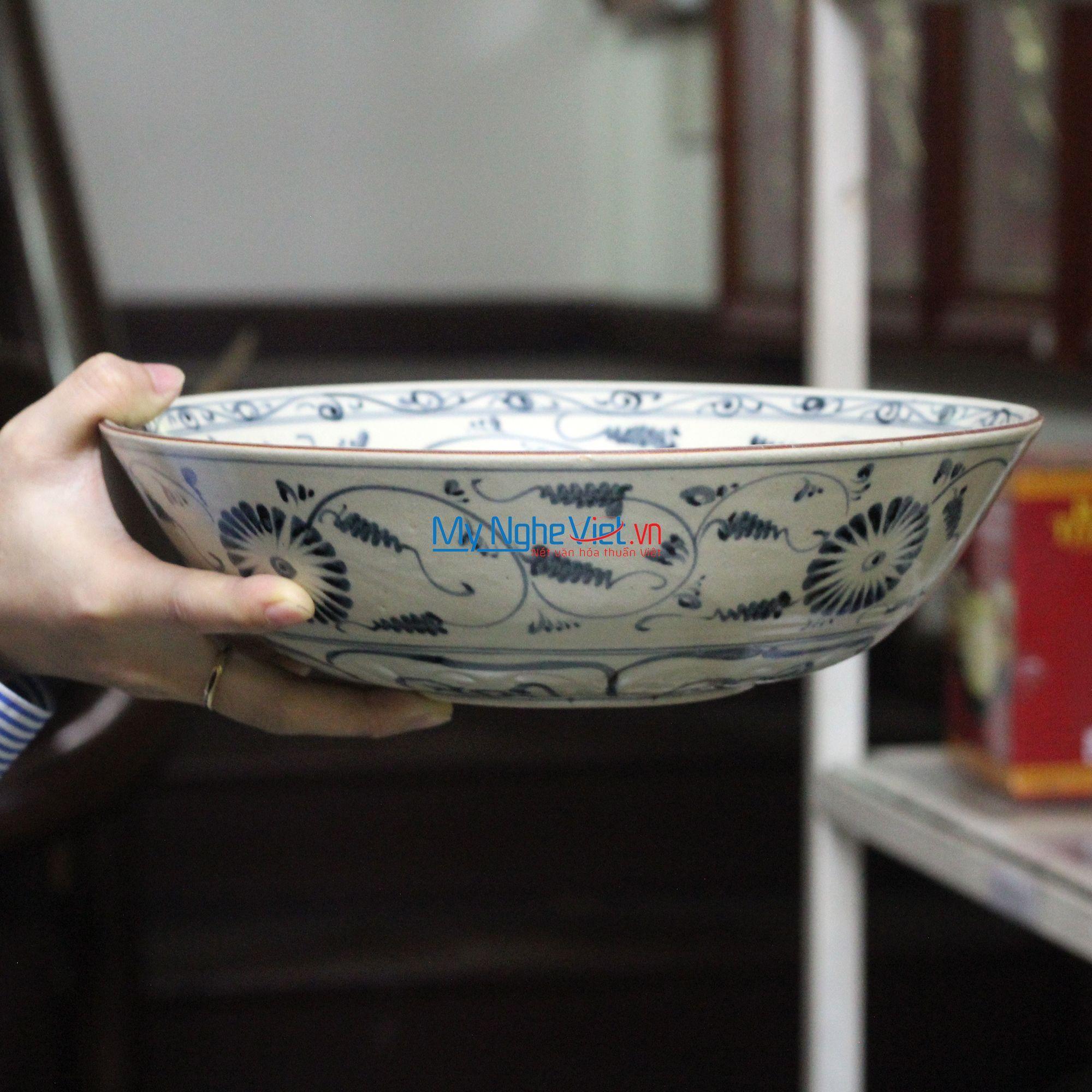 Tô loe gốm Bát Tràng họa tiết hoa cúc xanh MNV-BOA10-1