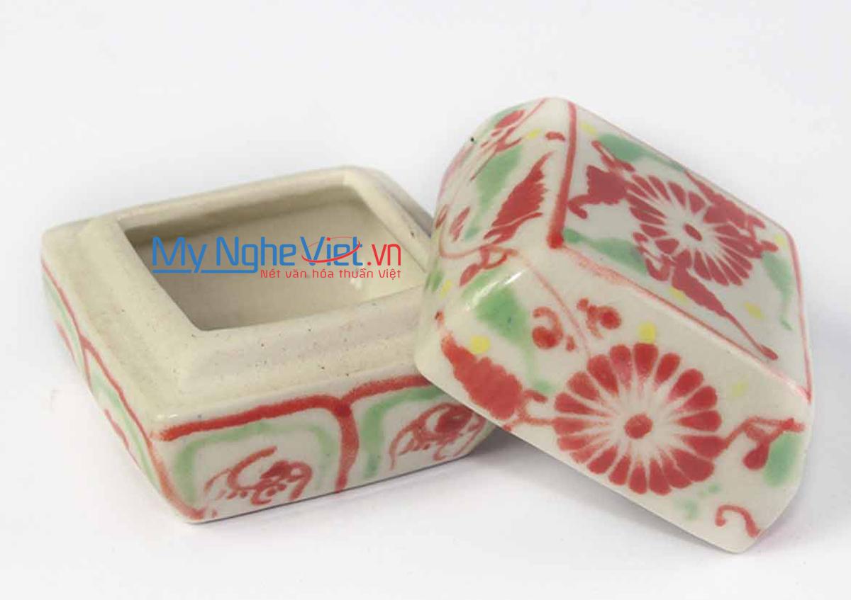 Hộp nhỏ gốm Bát Tràng hoa cúc đỏ MNV-BOA67