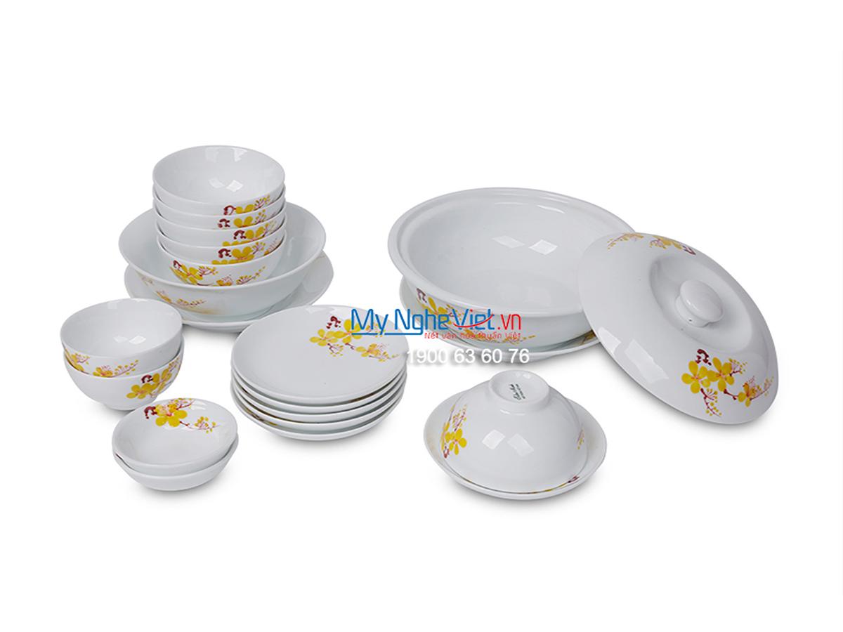 Bộ chén dĩa bàn ăn men trắng vẽ hoa mai dành cho 6 người MNV-BBA01-16