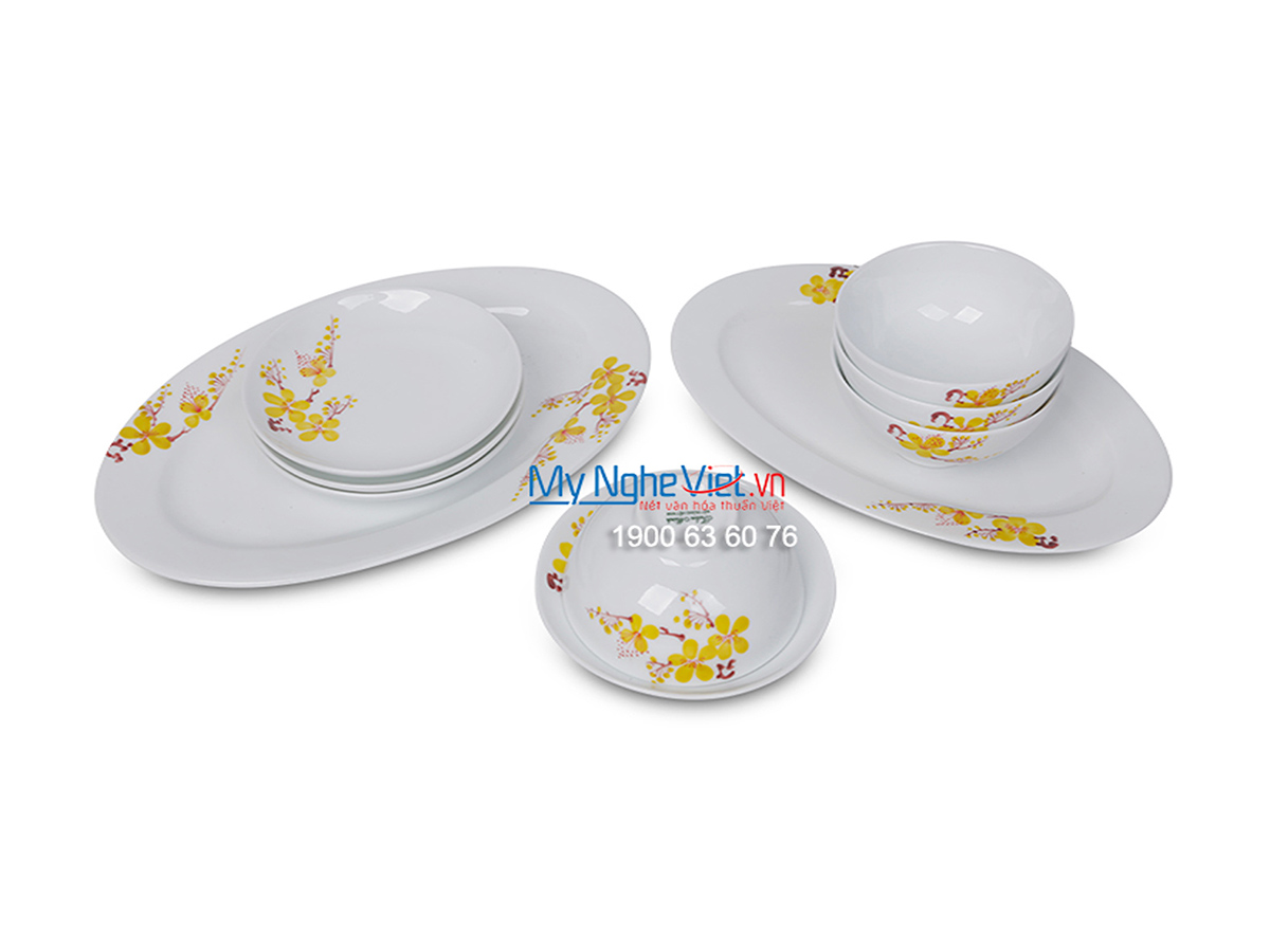 Bộ chén dĩa bàn ăn men trắng vẽ hoa mai dành cho 10 người MNV-BBA02-16