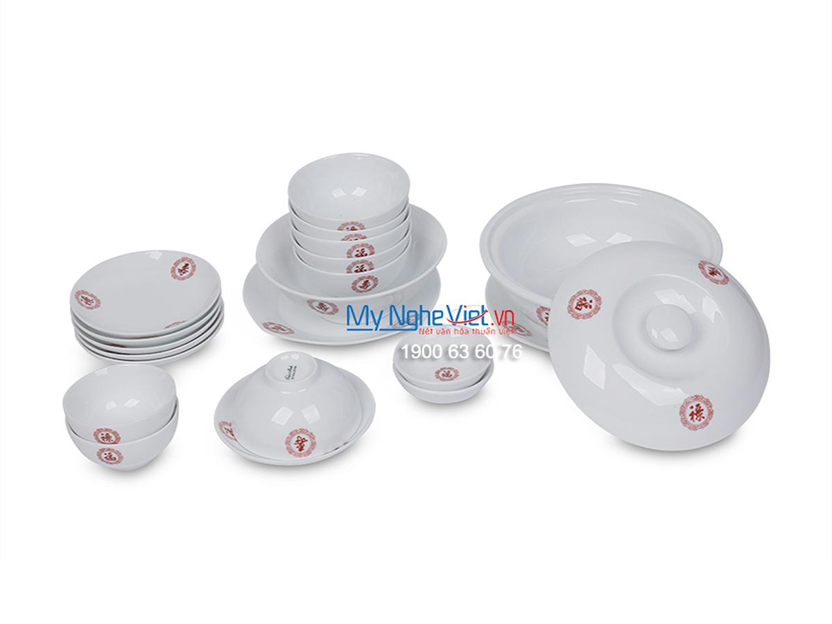 Bộ chén dĩa bàn ăn men trắng vẽ Phúc-Lộc-Thọ dành cho 6 người MNV-BBA01-13