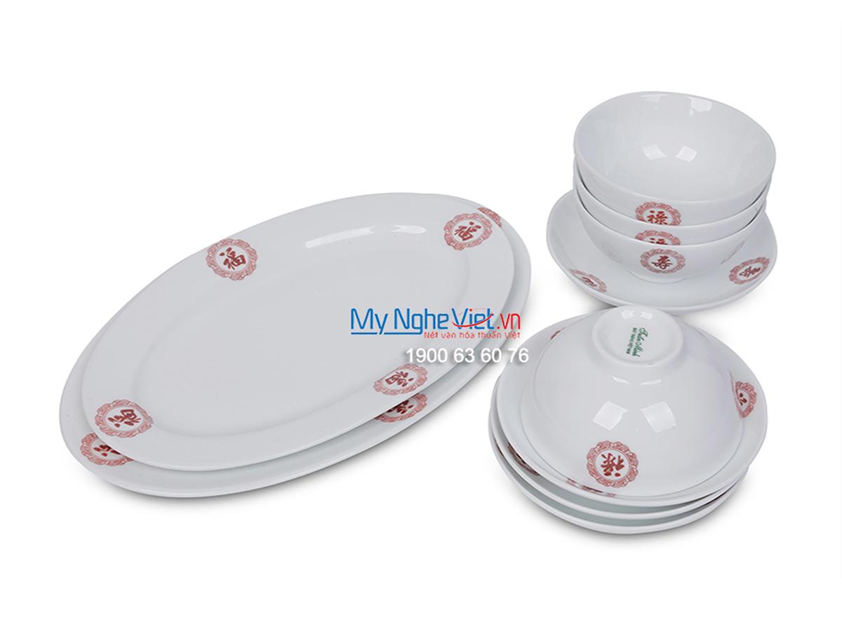 Bộ chén dĩa bàn ăn men trắng vẽ Phúc-Lộc-Thọ dành cho 10 người MNV-BBA02-13