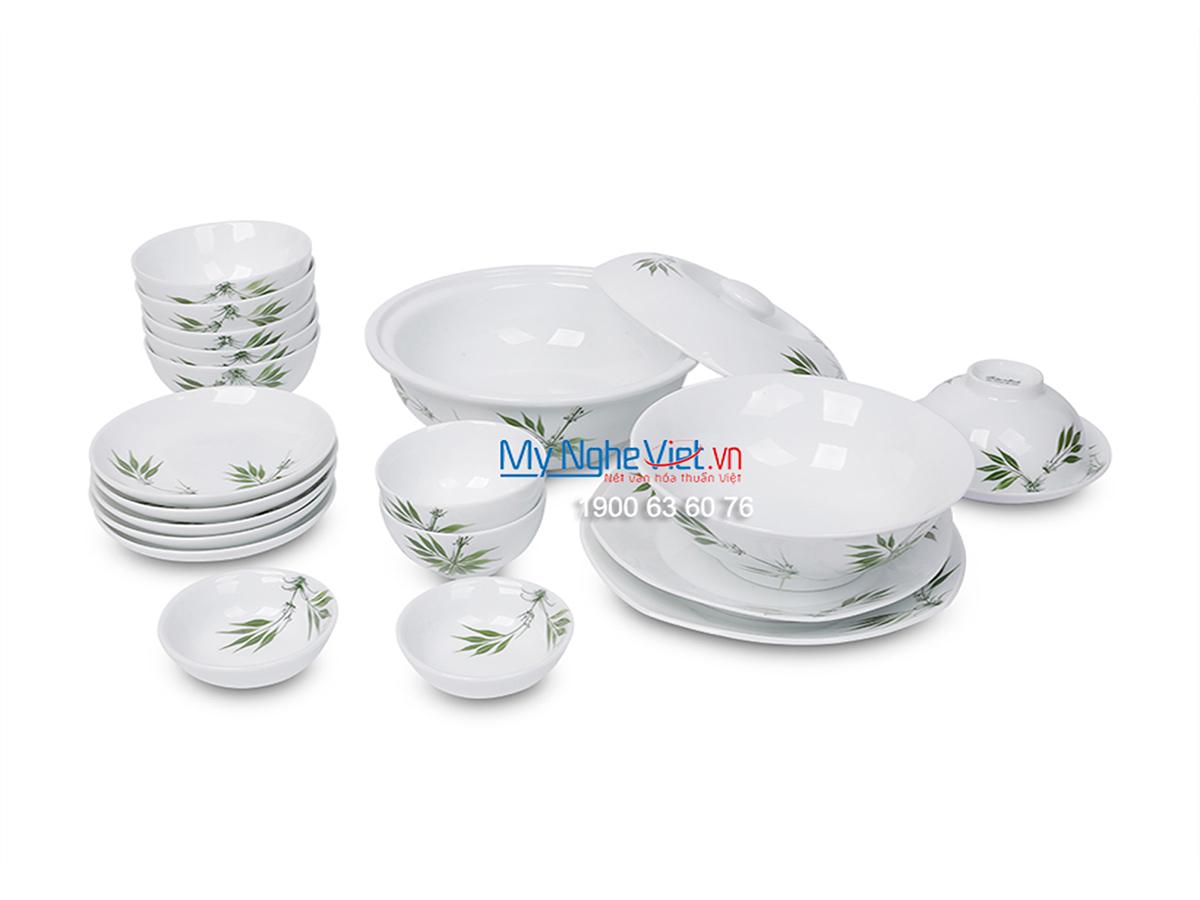 Bộ chén dĩa bàn ăn men trắng vẽ trúc xanh dành cho 6 người MNV-BBA01-8