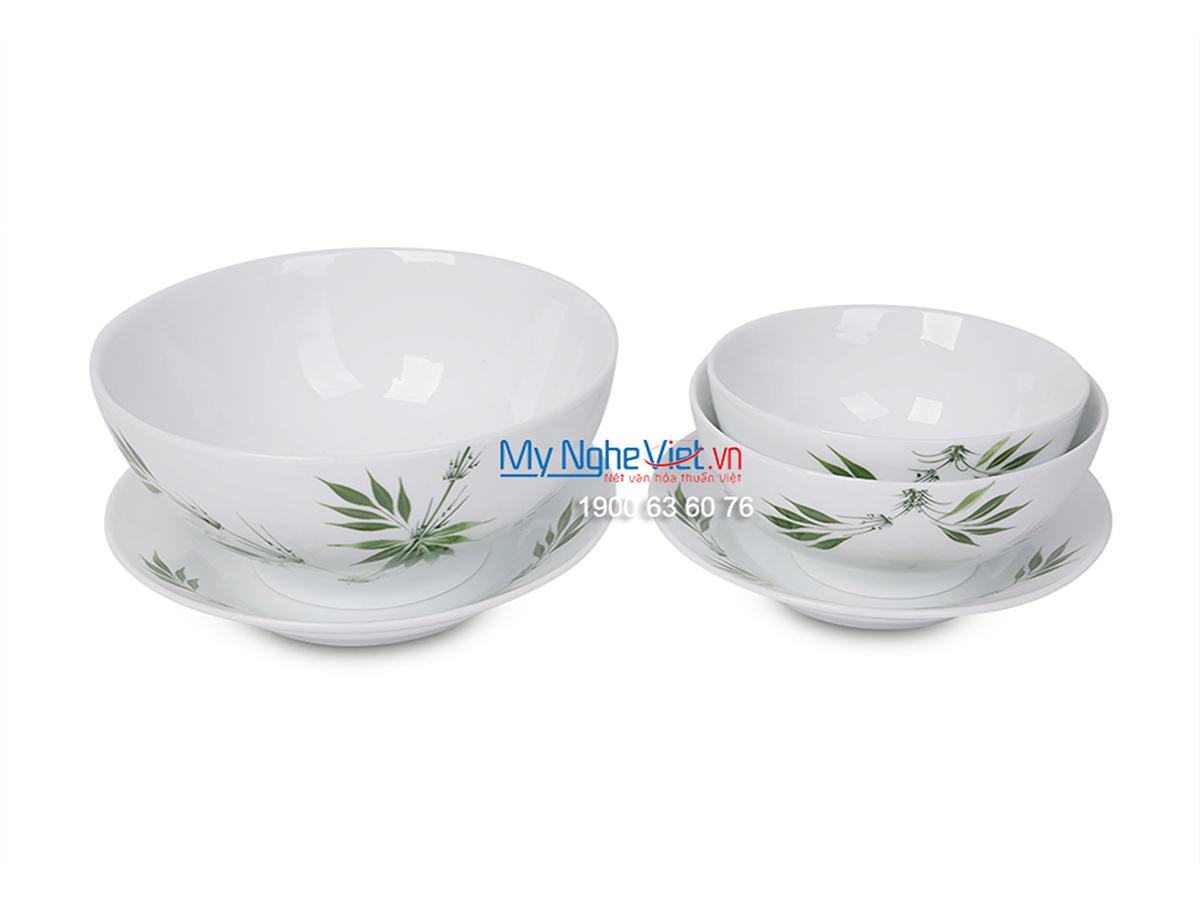Bộ chén dĩa bàn ăn men trắng vẽ trúc xanh dành cho 10 người MNV-BBA02-8