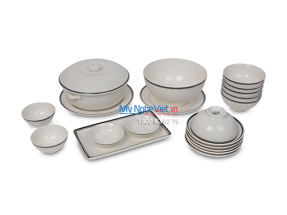 Bộ chén dĩa bàn ăn men trắng kẻ viền đen dành cho 6 người MNV-BBA01-14