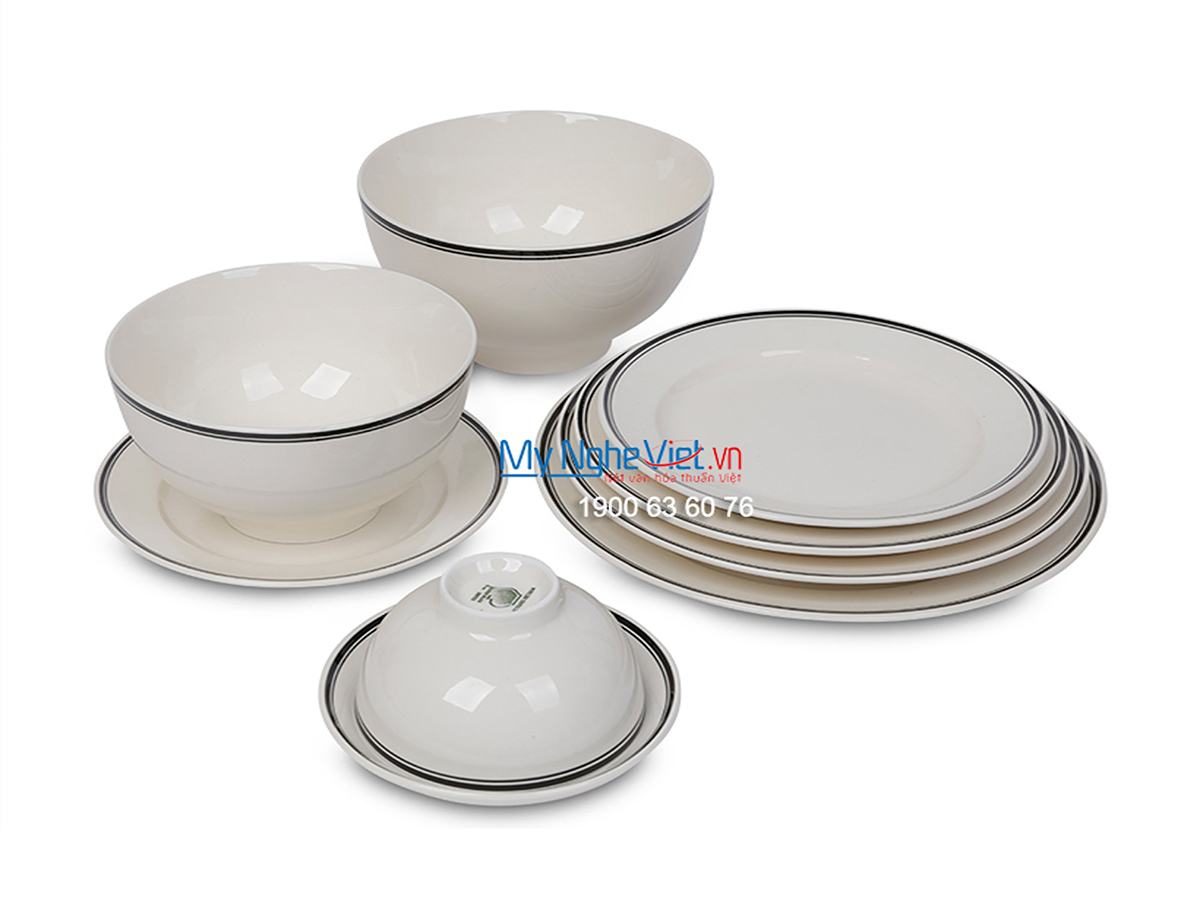 Bộ chén dĩa bàn ăn men trắng kẻ viền đen dành cho 10 người MNV-BBA02-14