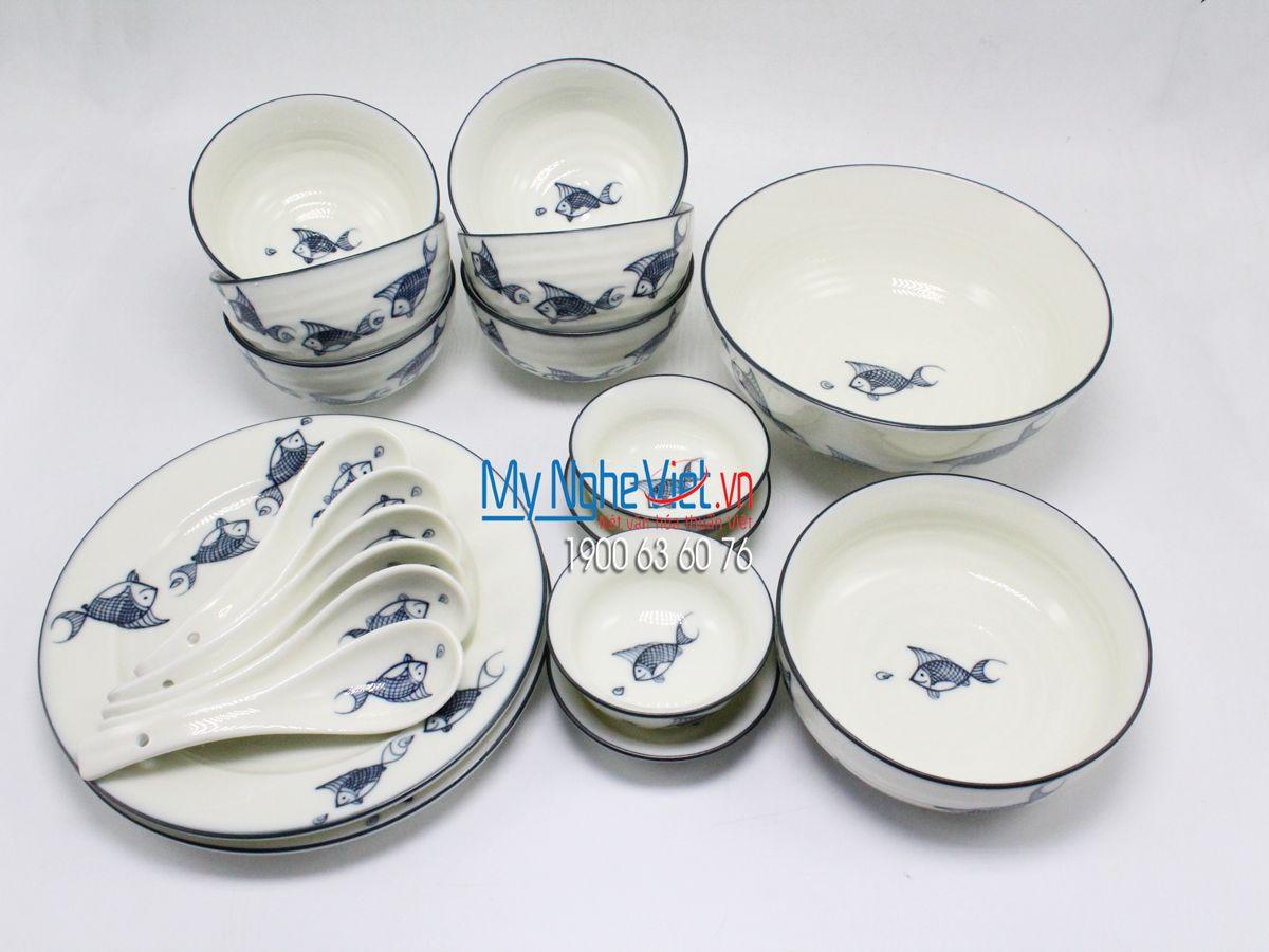 Bộ chén dĩa bàn ăn 6 người MNV-BBA02/cá xanh