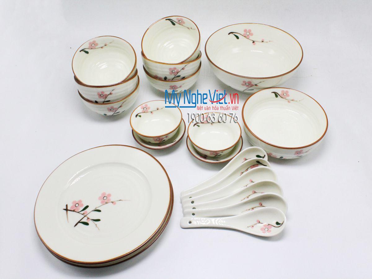 Bộ chén dĩa bàn ăn 6 người MNV-BBA02/đào đỏ