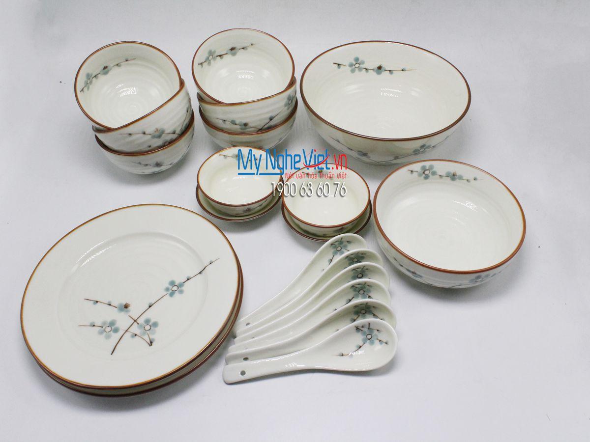 Bộ chén dĩa bàn ăn 6 người MNV-BBA02/đào xanh