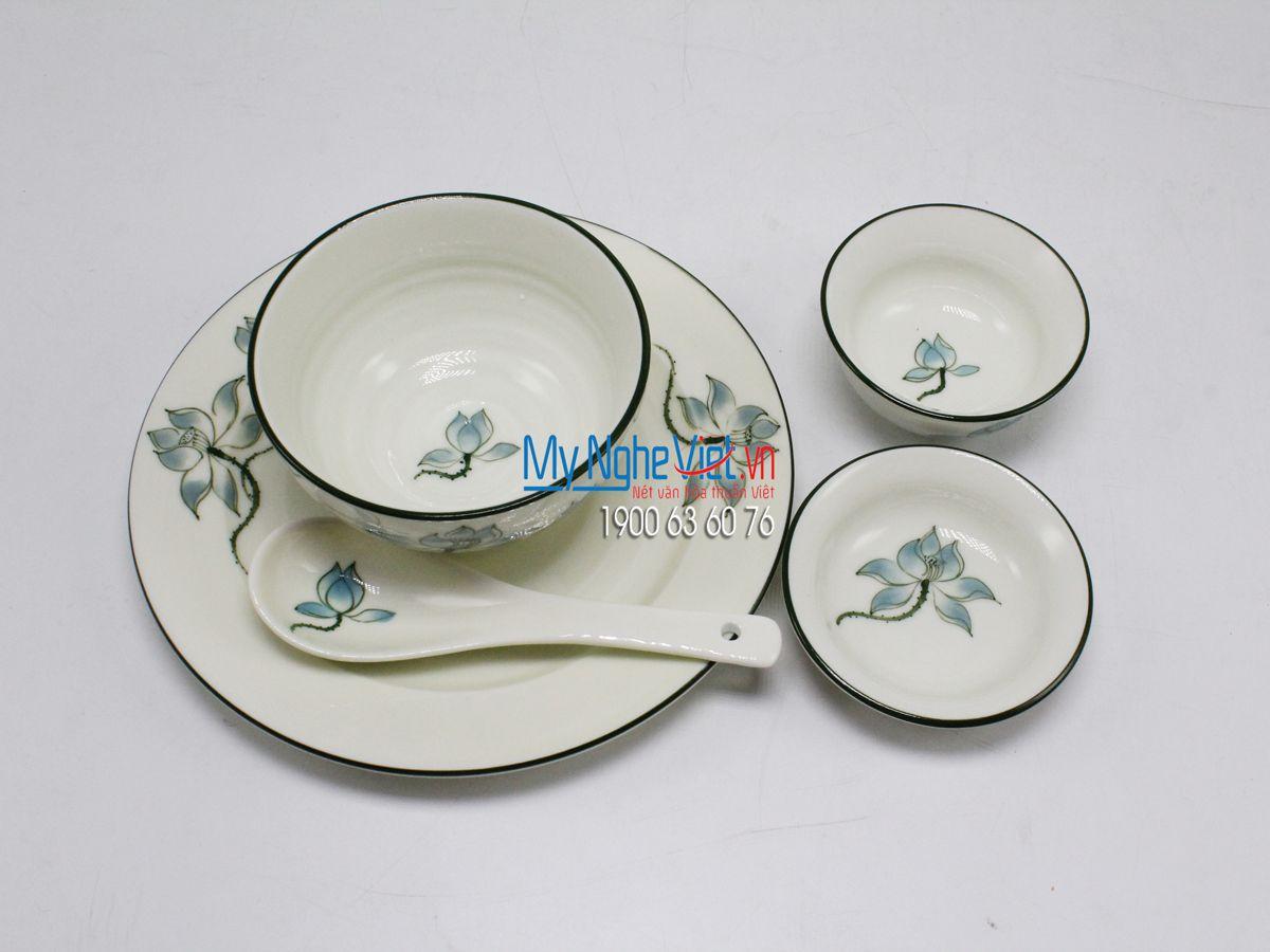 Bộ chén dĩa bàn ăn 6 người MNV-BBA02/sen xanh