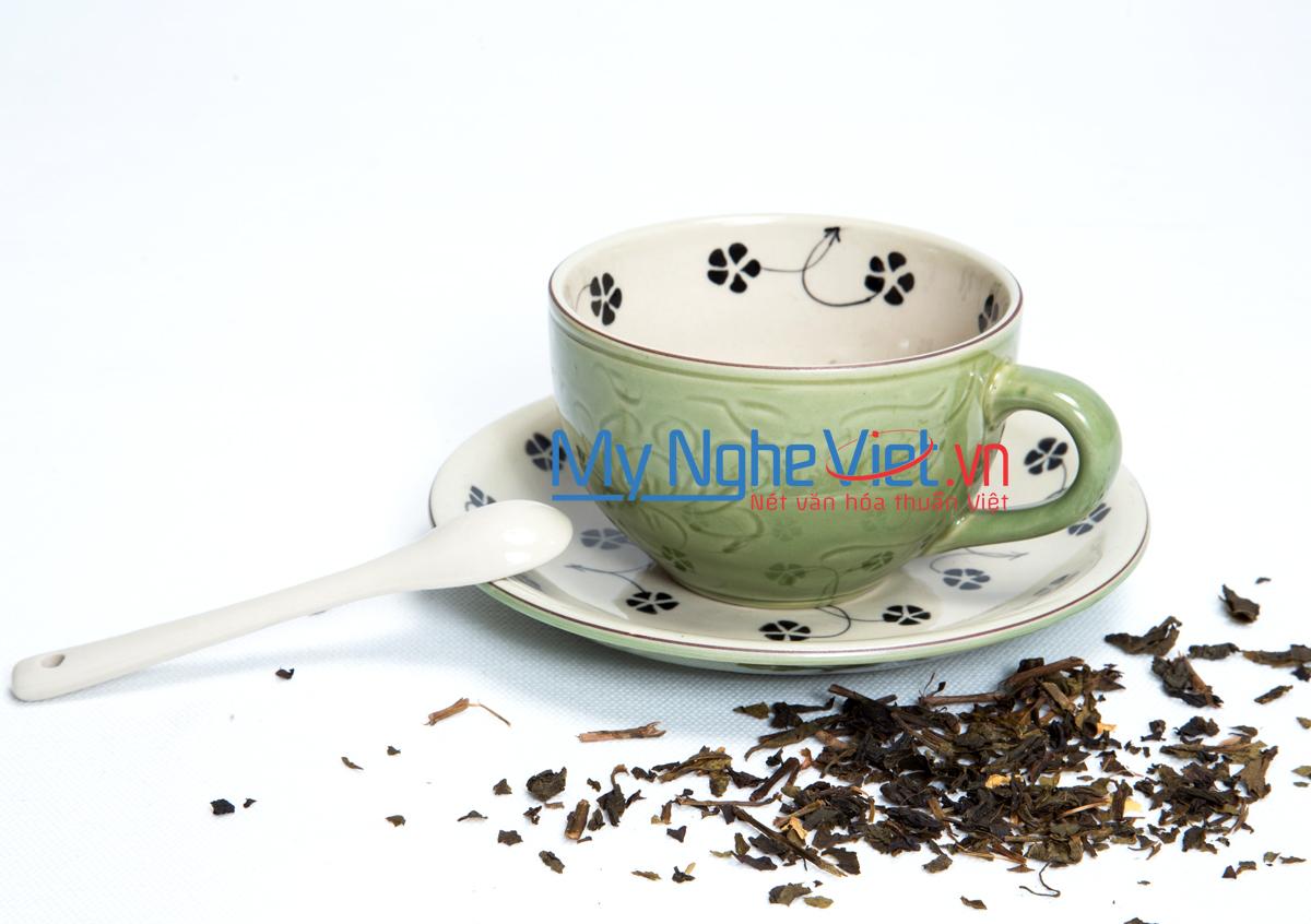 Tách cà phê xanh đồng vẽ hoa sao MNV-MXH09