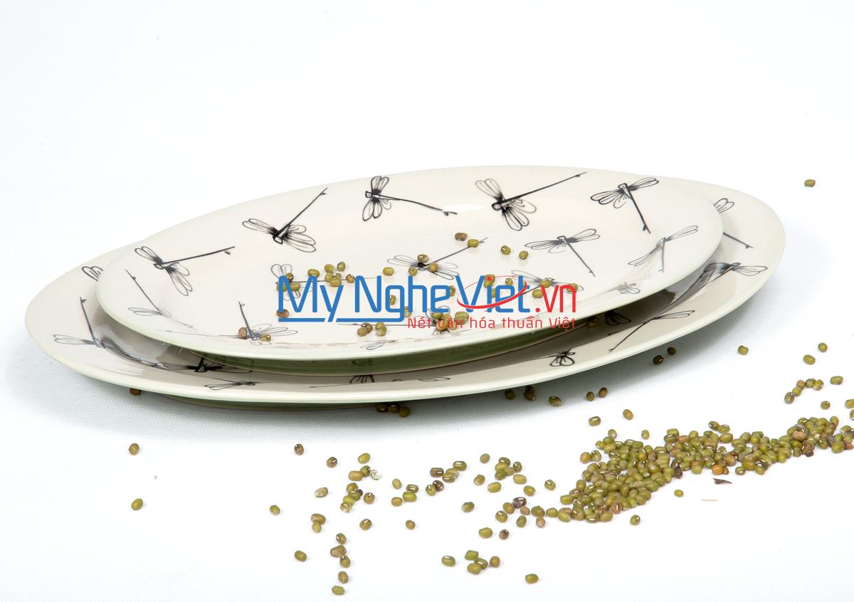 Đĩa bầu dục số 2 men xanh đồng vẽ chuồn MNV-MXC16