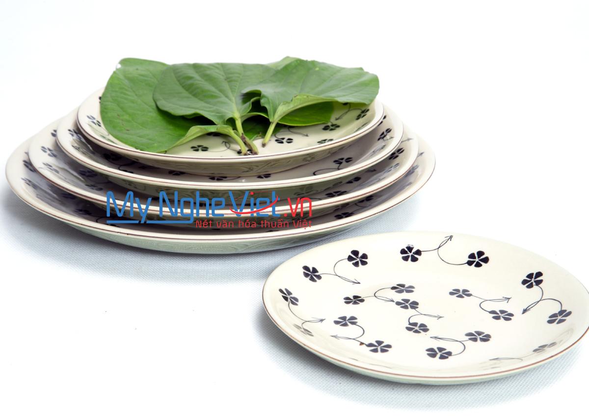 Bộ chén đĩa ( bộ bàn ăn) men xanh đồng vẽ hoa sao MNV-BBA4-1
