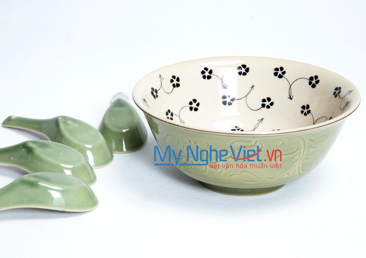 Bát tô cổ số 3 men xanh đồng vẽ hoa sao MNV-MXH06