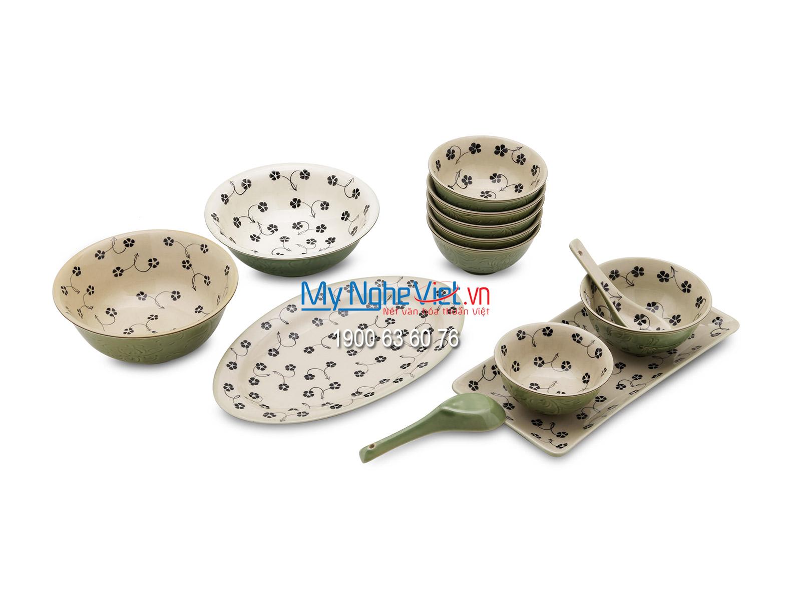 Bộ chén dĩa bàn ăn Bát Tràng men xanh đồng vẽ hoa sao MNV-BBA4